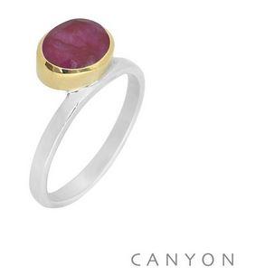 Bague argent sillimante rouge ovale couchée décalée sertissage laiton - Canyon R5314