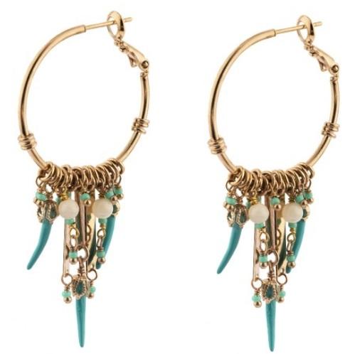 Boucles d'oreilles créoles percées estivales nacre I turquoise Collection Timor - Satellite Paris 2