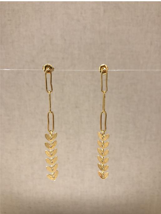 boucles d'oreilles clous feuille doré - Mile Mila