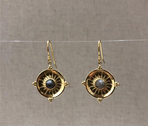 boucles d'oreilles crochet soleil pierre quartz rutile inoxydable doré - Mile Mila