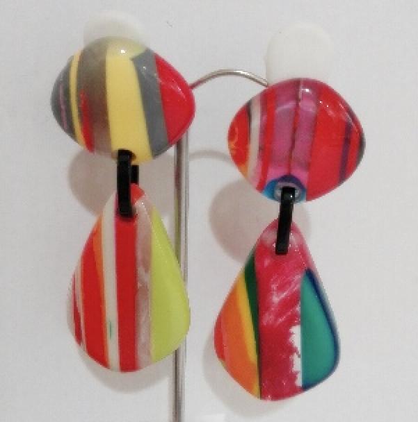 Boucles d'oreilles rayures forme goutte longue - Marion Godart