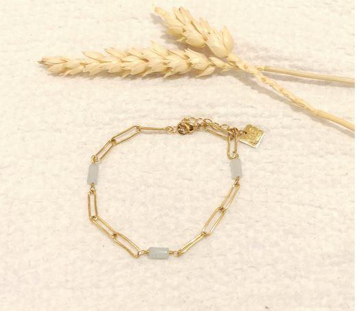 Bracelet aigue marine maille rectangulaire doré - Mile Mila