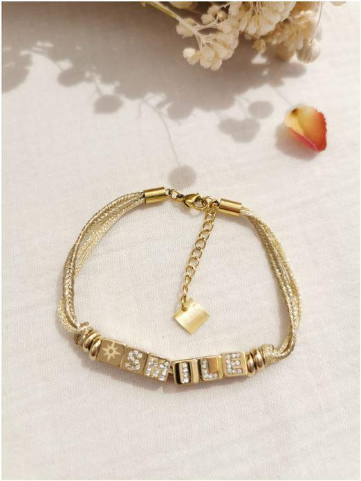 Bracelet cube SMILE doré  M20EB200