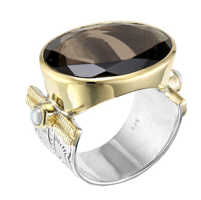 Bague argent très grand modèle quartz fumé ovale sens largeur 2 perles synthétiques sertissage anneaux laiton - Canyon