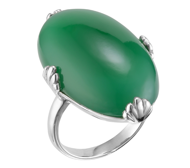 Bague argent décorée d\'un long ovale d\'onyx vert décoré de 4 griffes en forme d\'éventail argent 925 - Canyon