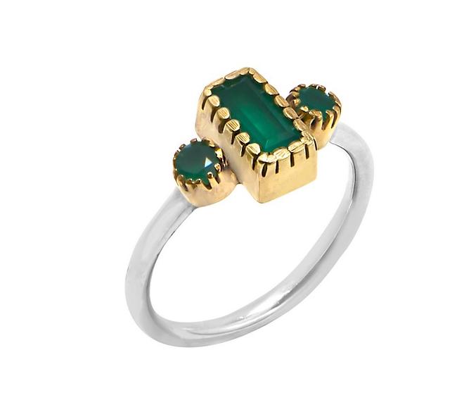 Bague argent composée d\'un onyx vert rectangle et de 2 onyx vert ronds sertis griffes en laiton et d\'un anneau argent 925 - Canyon