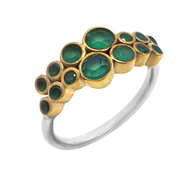 Bague argent composée de 14 onyx verts ronds sertis griffes en laiton et d\'un anneau argent 925 - Canyon