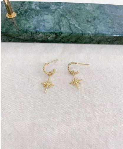 Boucles d'oreilles étoile filante doré puces - Mile Mila