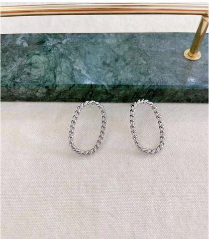 Boucles d'oreilles ovale tressé argenté puces - Mile Mila