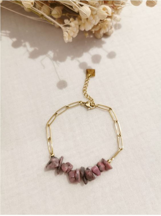 Bracelet pierre rhodonite chaine acier inoxydable - Mile Mila