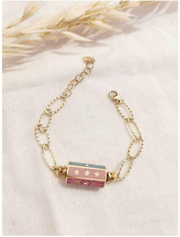 Bracelet cylindre étoile fuschia-doré acier inoxydable - Mile Mila