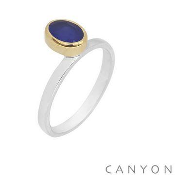 Bague argent petit calcedoine bleu ovale droite décalée sertie laiton - CANYON