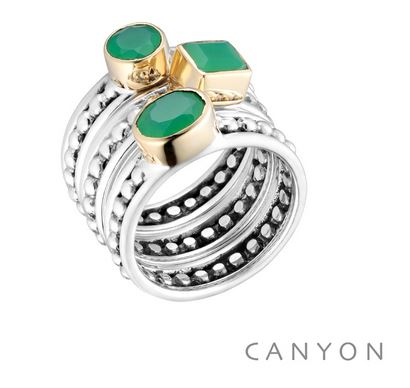 Bague 3 anneaux argent 925 petites boules et ovale carre rond en calcedoine chryzoprase serti de laiton - Canyon