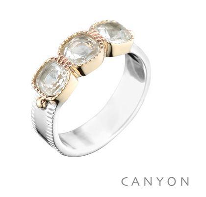 Bague anneau plat et 3 carres de cristal argent 925 - Canyon
