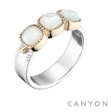 Bague anneau plat et 3 carres de nacre argent 925 - Canyon
