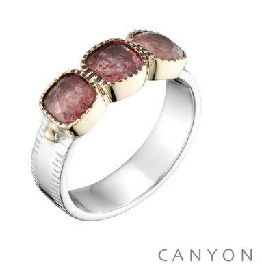 Bague anneau plat et 3 carres de quartz fraise argent 925 - Canyon