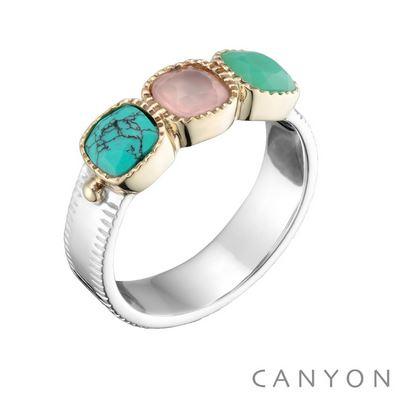 Bague anneau plat et 3 carres de turquoise, quartz rose et onyx vert argent 925 - Canyon