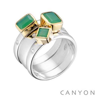 Bague 3 anneaux imbriques décoré de chrysoprase calcedoine carre et rectangle, collet en laiton et 2 microoxydes sur l'anneau de chaque cote des pierres argent 925 - Canyon
