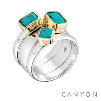 Bague 3 anneaux imbriques décoré de turquoise carre et rectangle, collet en laiton et 2 microoxydes sur l'anneau de chaque cote des pierres argent 925 - Canyon