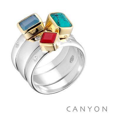 Bague 3 anneaux imbriques décoré de différentes pierres carre et rectangle, collet en laiton et 2 microoxydes sur l'anneau de chaque cote des pierres argent 925 - Canyon