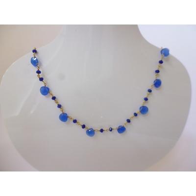 collier calcedoine bleu sur chaine plaque or 45 cm LA BELLE SIMONE