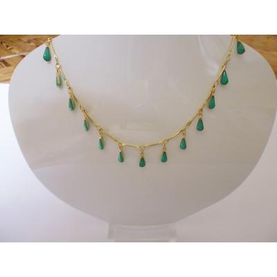 collier goutte émail turquoise chaine plaquée or 45cm LA BELLE SIMONE