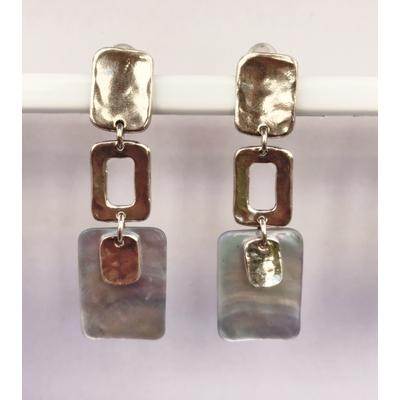 BO clips gris collection EQUATEUR  argent et nacre  hauteur 6cm  LILI LA PIE