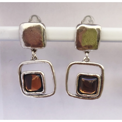 BO clips marron foncé carré argent pierre résine collection SQUARY LILI LA PIE