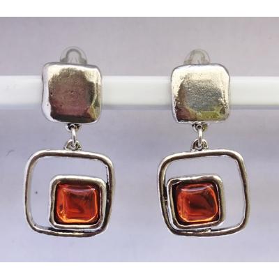 BO clips coloris ambre carré argent pierre résine collection  SQUARY LILI LA PIE