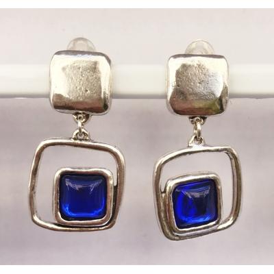BO clips bleu roy carré argent pierre résine collection SQUARY LILI LA PIE