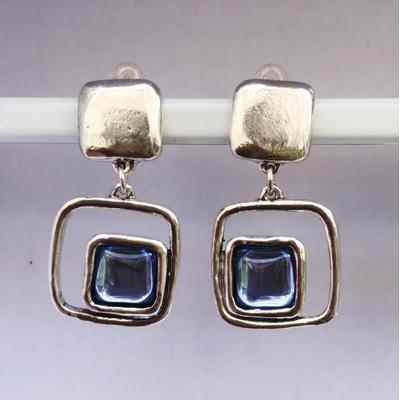 BO clips bleu clair carré argent pierre résine collection SQUARY LILI LA PIE