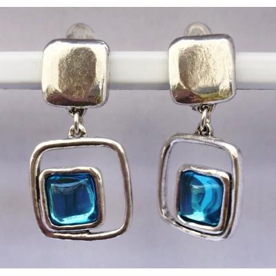 BO clips bleu carré  argent pierre résine collection SQUARY LILI LA PIE