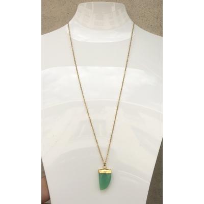 Collier pendentif agate verte chaine plaqué or La Belle Simone