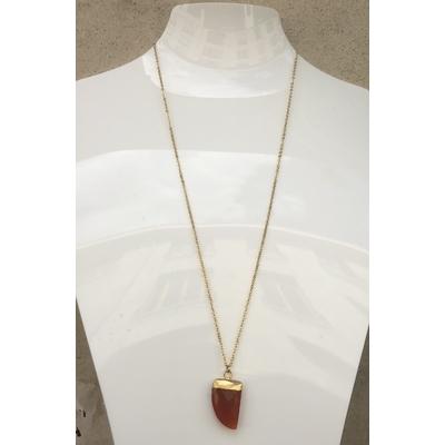 Collier pendentif cornaline chaine plaqué or La Belle Simone