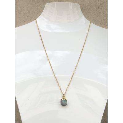 Collier pendentif labradorite chaine plaqué or La Belle Simone