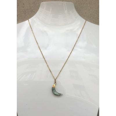 Collier pendentif labradorite forme lune chaine plaqué or La Belle Simone