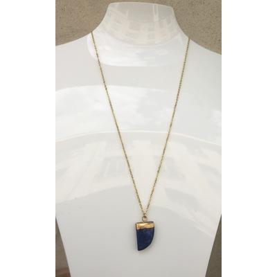 Collier pendentif lapis lazuli chaine plaqué or La Belle Simone