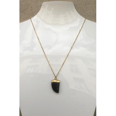 Collier pendentif onyx chaine plaqué or La Belle Simone