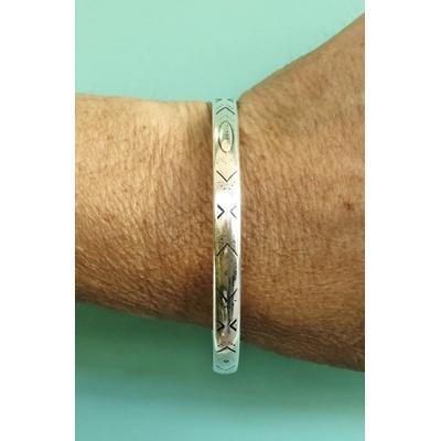 Bracelet jonc modèle TRIANGLES en zamak argent SHABADA