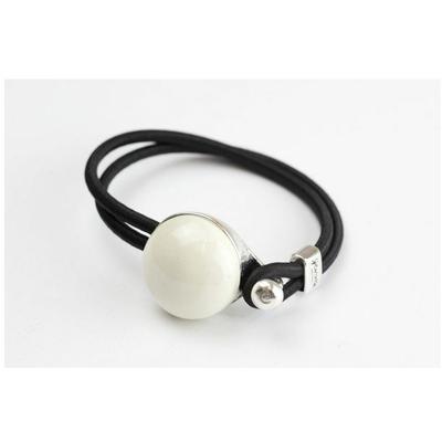 Bracelet galet céramique blanc et élastique collection Confetti GEVOLE
