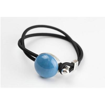 Bracelet galet céramique bleu turquoise et élastique collection Confetti GEVOLE