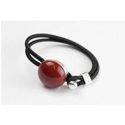 Bracelet galet céramique bordeau et élastique collection Confetti GEVOLE