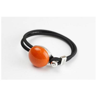 Bracelet galet céramique orange et élastique collection Confetti GEVOLE