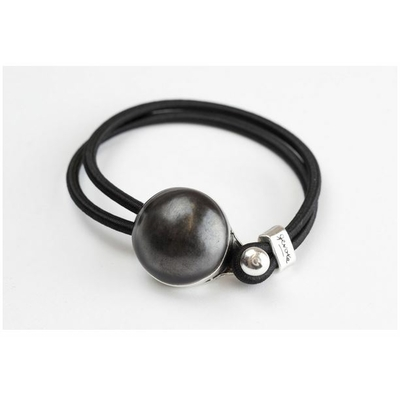 Bracelet galet céramique noir mat et élastique collection Confetti GEVOLE