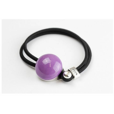 Bracelet galet céramique mauve et élastique collection Confetti GEVOLE