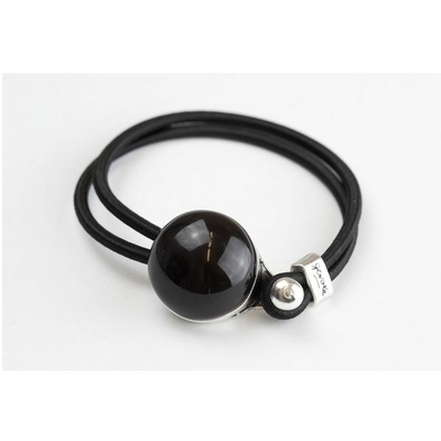 Bracelet galet céramique noir et élastique collection Confetti GEVOLE