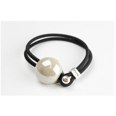 Bracelet galet céramique nacré et élastique collection Confetti GEVOLE