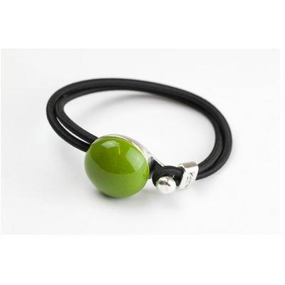 Bracelet galet céramique vert et élastique collection Confetti GEVOLE