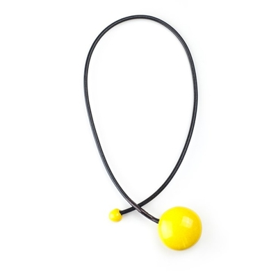 collier céramique galet jaune cuir 4mm long 42cm gévole