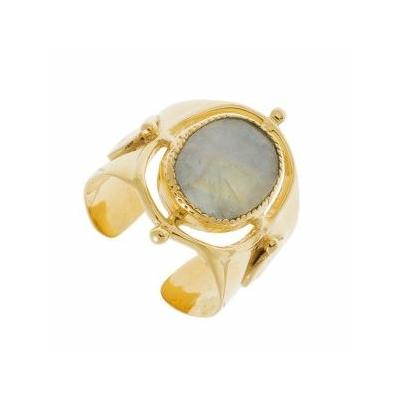 Bague chevalière pierre de lune plaqué or Collection Mila Leticia Ponti